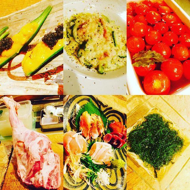 ブラッスリーピガール&六畳間️本日のラインナップ️^_^雲丹オクラキャビア️メカブ素麺️ゴーヤリゾット️ピクルストマト️フランス産仔羊️鳥刺し盛り️などなど盛り盛りで間もなくオープンでーす️^_^
