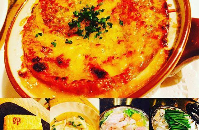 ブラッスリーピガール&六畳間️今日は寒いですねー️こんな日は、熱々のオニオングラタンスープがおすすめ️手作り水餃子️塩モツ鍋️水炊きも間もなくオープンでーす️^_^