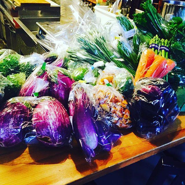 ブラッスリーピガール&六畳間️さっそく福島より新鮮野菜が届きました️山ワカメ、花ニラ、ゼブラナス、オータムポエム、生ナメコ、ツルムラサキなどなど盛り沢山でーす️今日は生憎のお天気ですが、間もなくオープンでーす️^_^